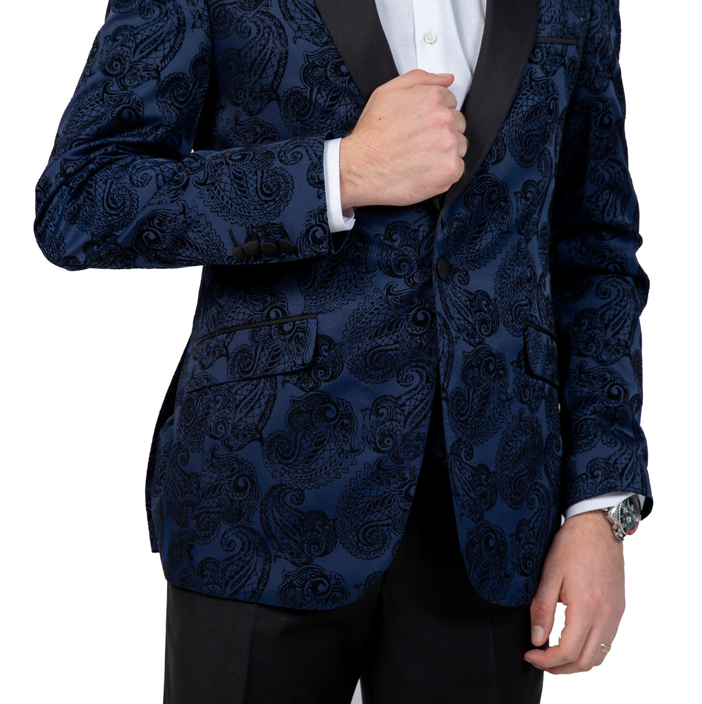Midnight Blue Paisley Printed Velvet 3 Piece Suit / Tuxedo