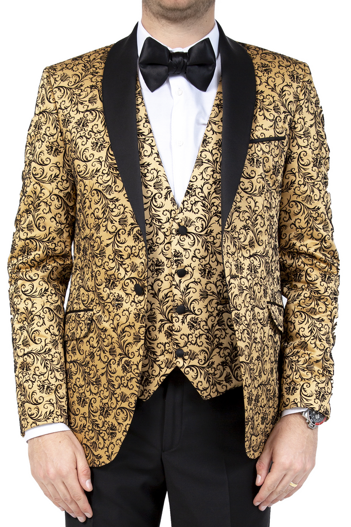 Gold Floral Printed Velvet Dinner / Tuxedo Jacket - Jack Martin Menswear