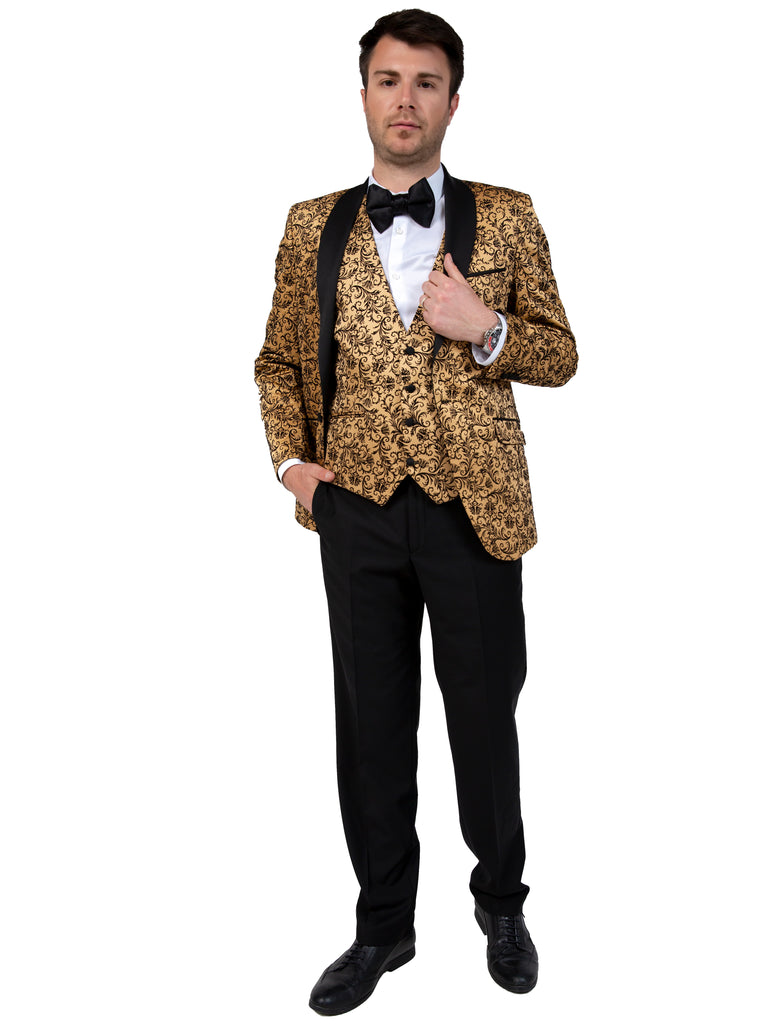 Gold Floral Printed Velvet Dinner / Tuxedo Jacket