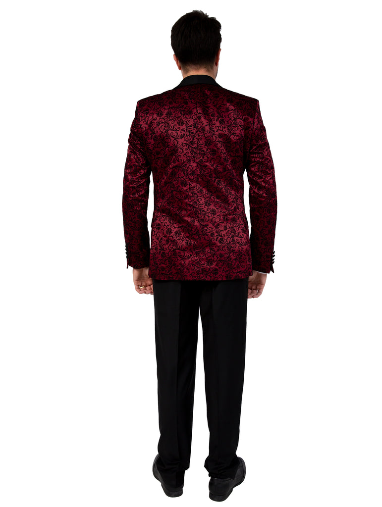 Red Floral Printed Velvet 3 Piece Suit / Tuxedo