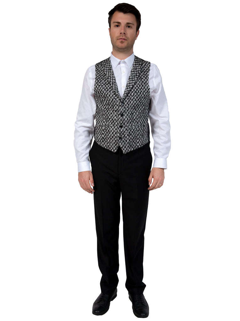 Black & White Patterned Collared Tweed Waistcoat