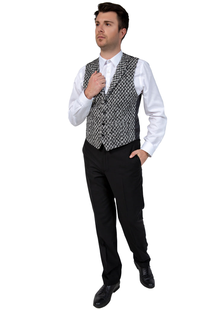 Black & White Patterned Collared Tweed Waistcoat - Jack Martin Menswear