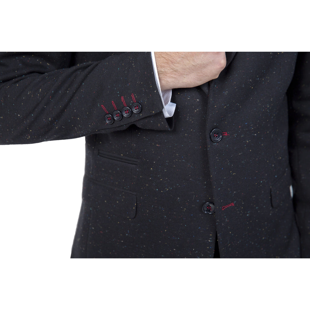 Black Cotton Jersey Semi-Slim Fit Speckled Blazer
