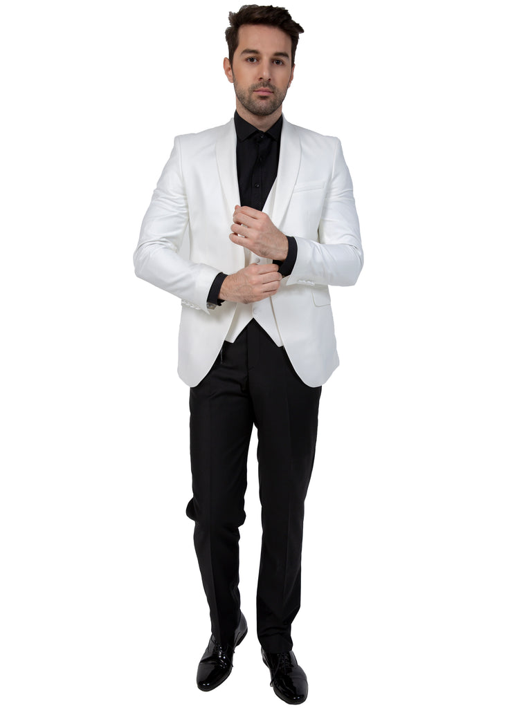 Off White Plain Dinner / Tuxedo Jacket with Shawl Lapel