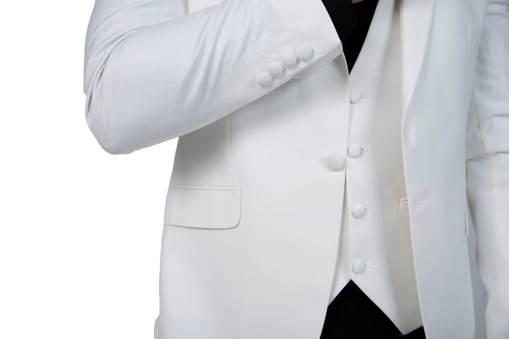 Off White Plain Dinner / Tuxedo Jacket with Shawl Lapel - Jack Martin Menswear