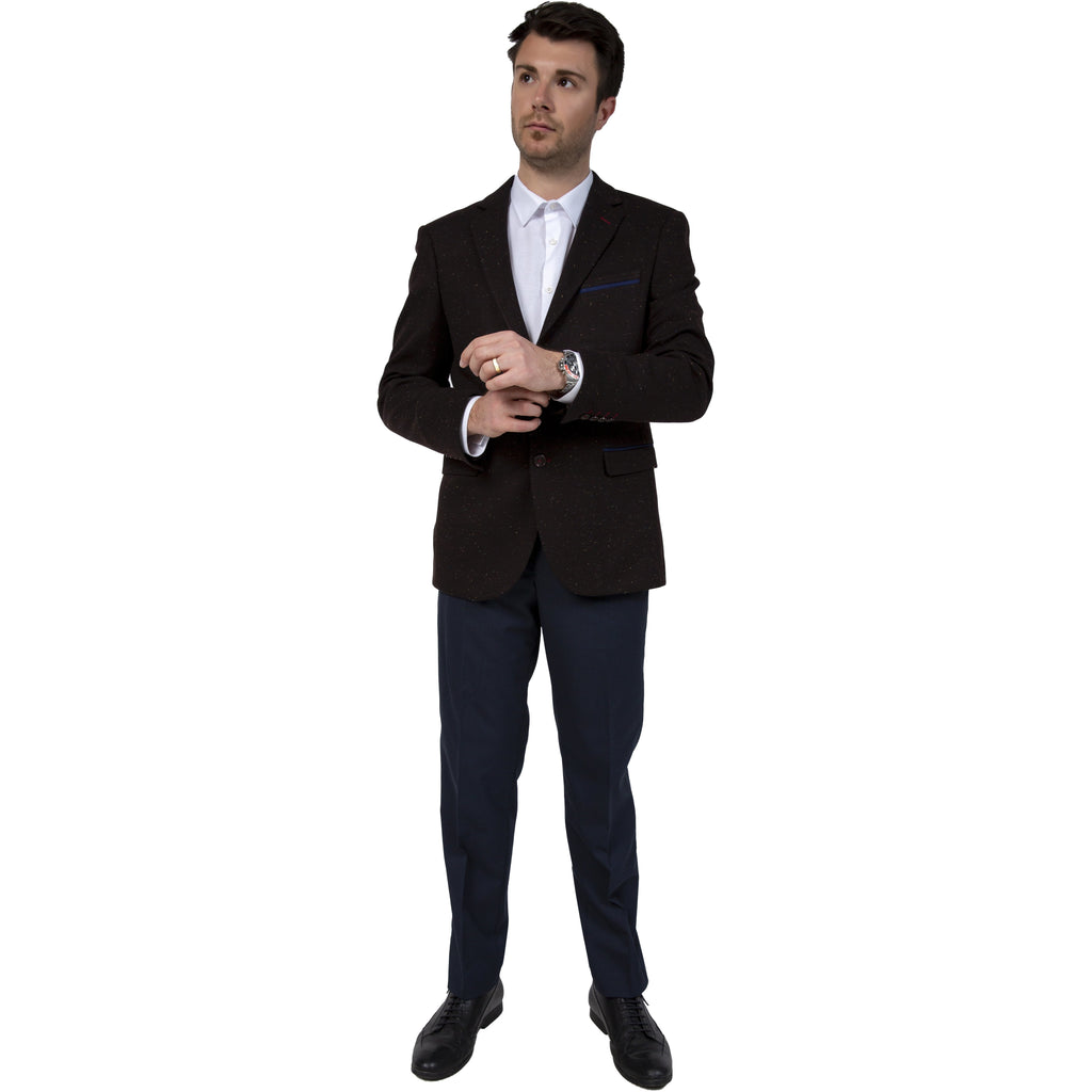 Brown Cotton Jersey Semi-Slim Fit Speckled Blazer