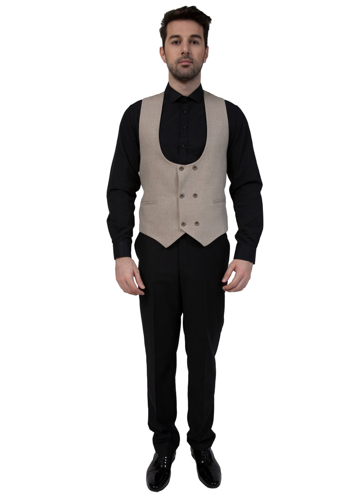 Cream Tweed Double Breasted Waistcoat - Jack Martin Menswear