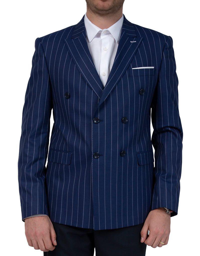 Blue Chalk Stripe Double Breasted Blazer