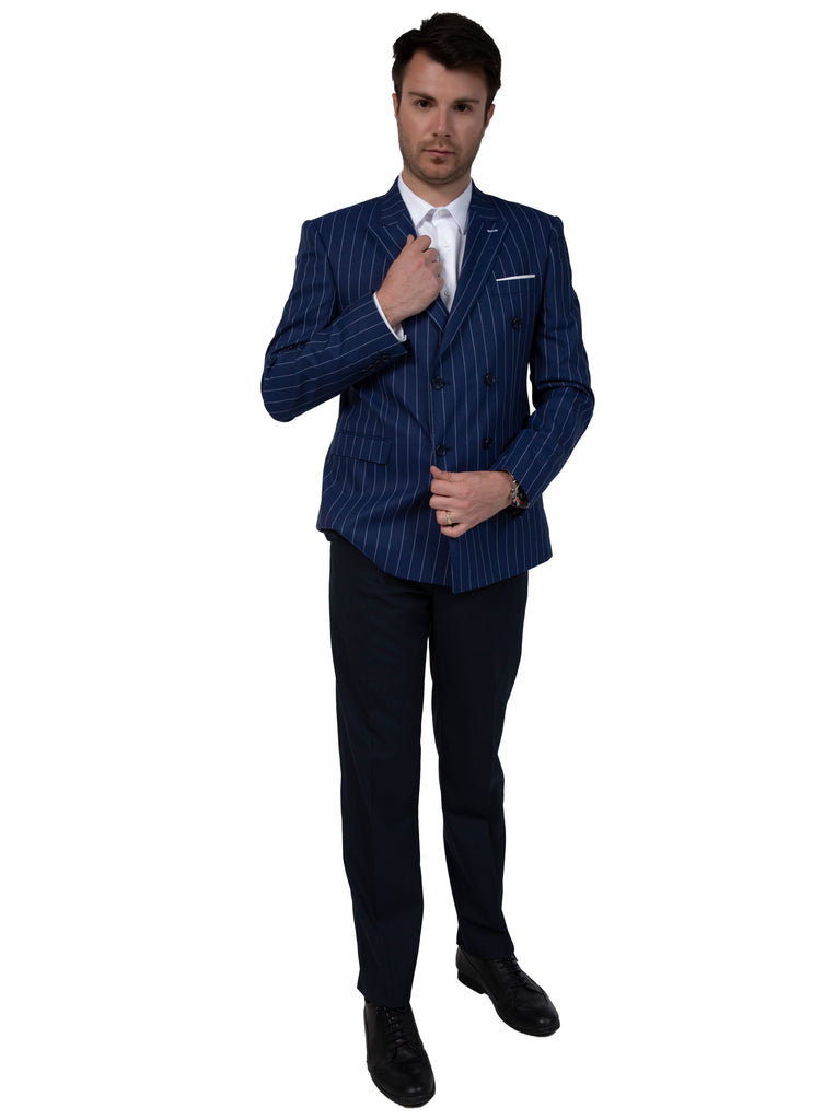Blue Chalk Stripe Double Breasted Blazer - Jack Martin Menswear