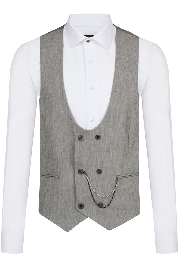 Grey & Black Textured Double Breasted Suit Waistcoat