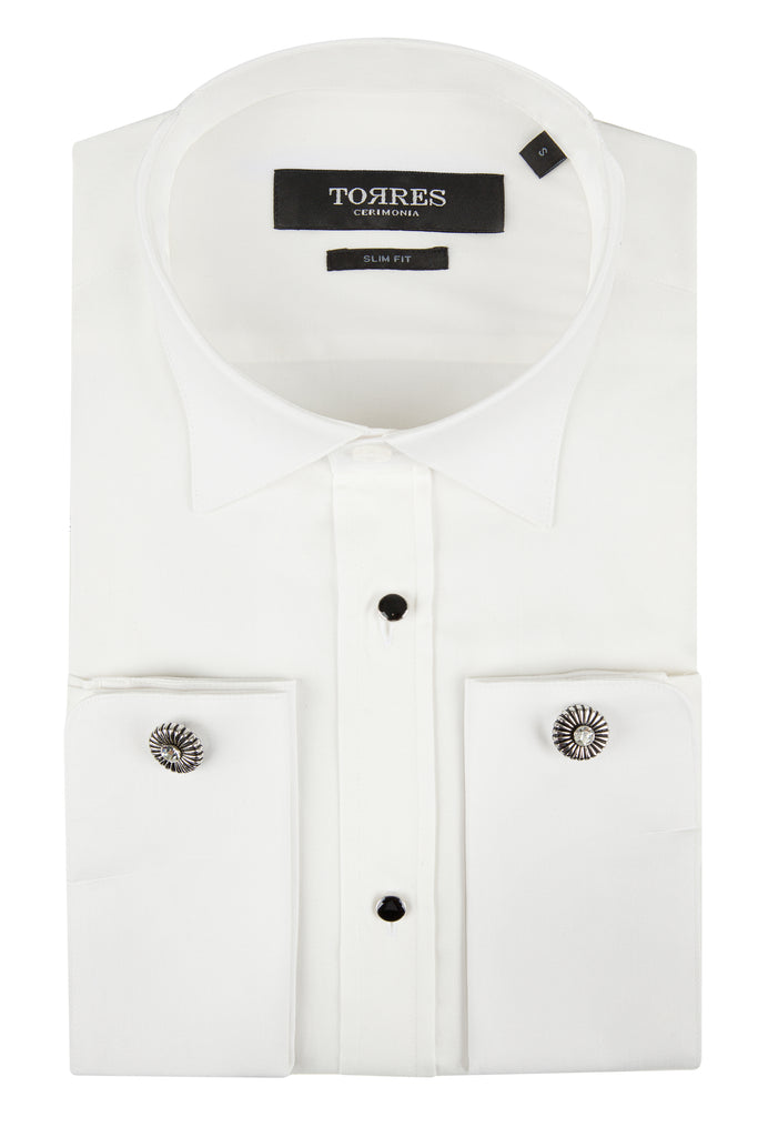 Off White Pure Cotton Wing Collar Double Cuff Slim Fit Dress Shirt