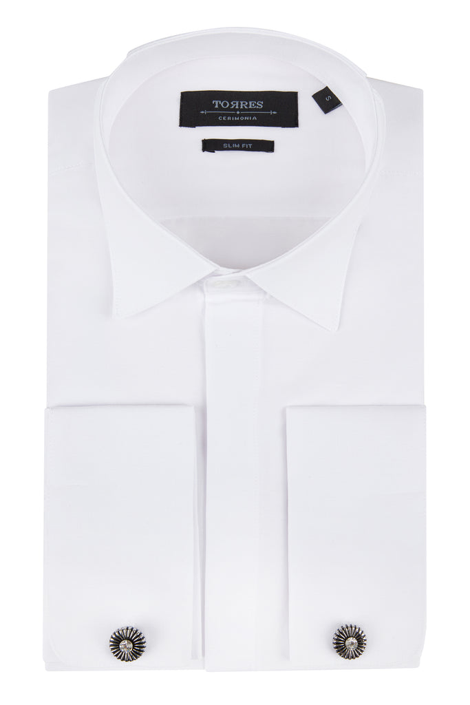White Pure Cotton Wing Collar Double Cuff Slim Fit Dress Shirt - Jack Martin Menswear