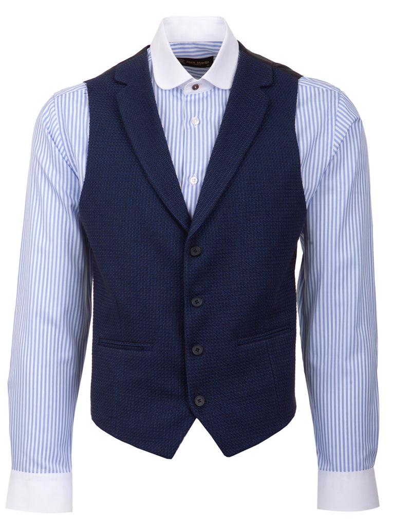 Blue Patterned Collared Tweed Waistcoat