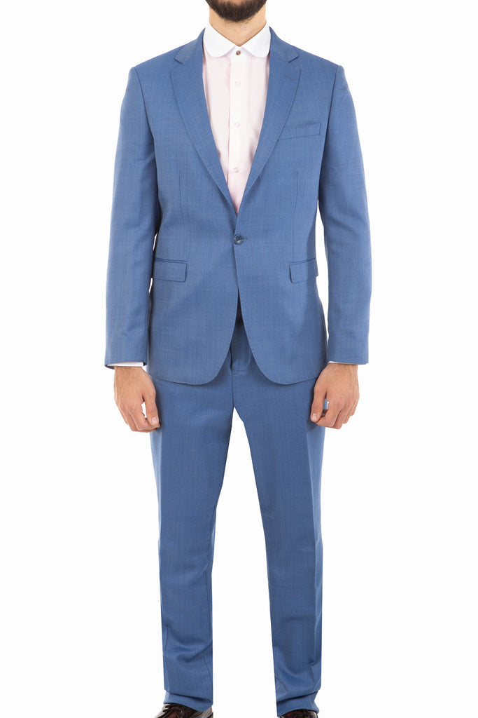 Light Blue Deluxe Italian Suit in Herringbone - Jack Martin Menswear