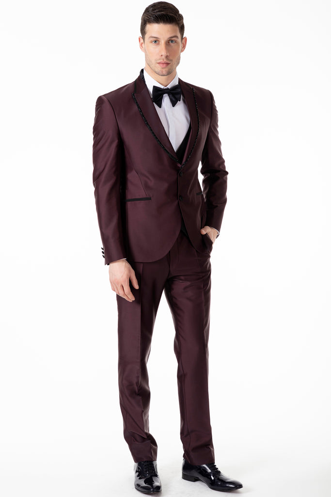 SABADO - Plum Burgundy Satin Slim Fit 3 Piece Suit with Handmade Diamante Trim - Jack Martin Menswear