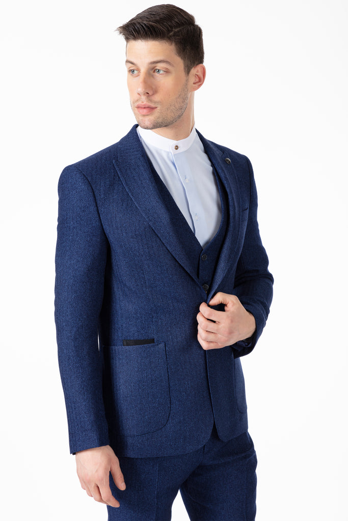 JOHN - Blue Tweed Herringbone 3 Piece Suit with Patch Pockets - Jack Martin Menswear