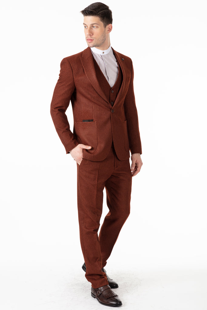 JOHN - Tobacco Brown Tweed Herringbone Trousers - Jack Martin Menswear