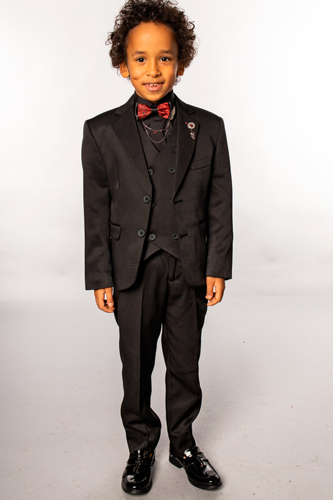 DJ1 - Black Dobby Boy's 3 Piece Suit with Fancy Red Bow Tie - Jack Martin Menswear