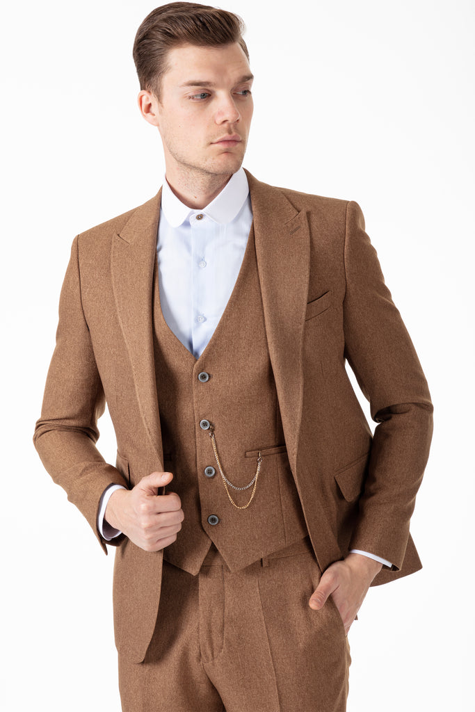 TOMMY - Peaky Blinders Style - Tan Tweed 3 Piece Suit - Jack Martin Menswear