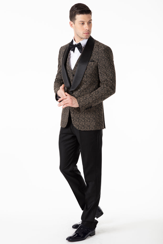 LEO - Black & Gold Floral Jacquard Dinner / Tuxedo Jacket - Jack Martin Menswear