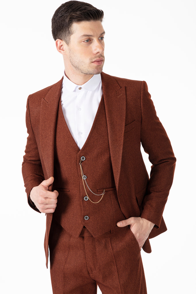 TOMMY - Peaky Blinders Style - Tobacco Brown Tweed Blazer - Jack Martin Menswear