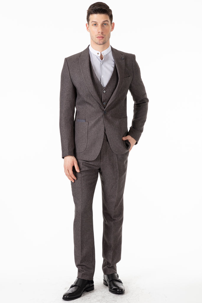 JOHN - Grey Tweed Herringbone Trousers - Jack Martin Menswear