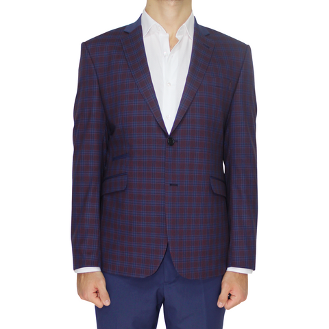 Burgundy & Navy Check Superior Semi-Slim Fit Blazer