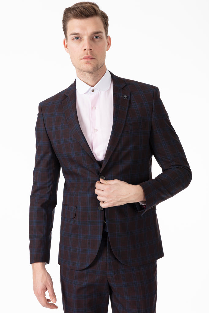 OSCAR - Burgundy Bold Check Tailored Fit 3 Piece Suit - Jack Martin Menswear