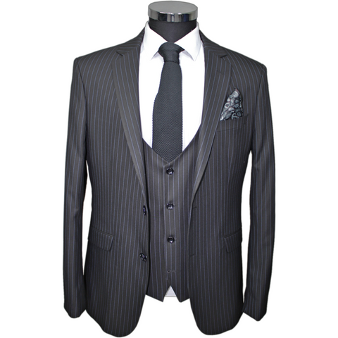 Black Pinstripe Superior 3 Piece Semi-Slim Fit Suit