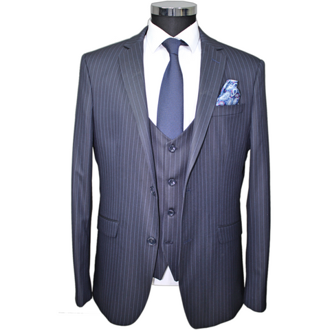 Navy Pinstripe Superior 3 Piece Semi-Slim Fit Suit