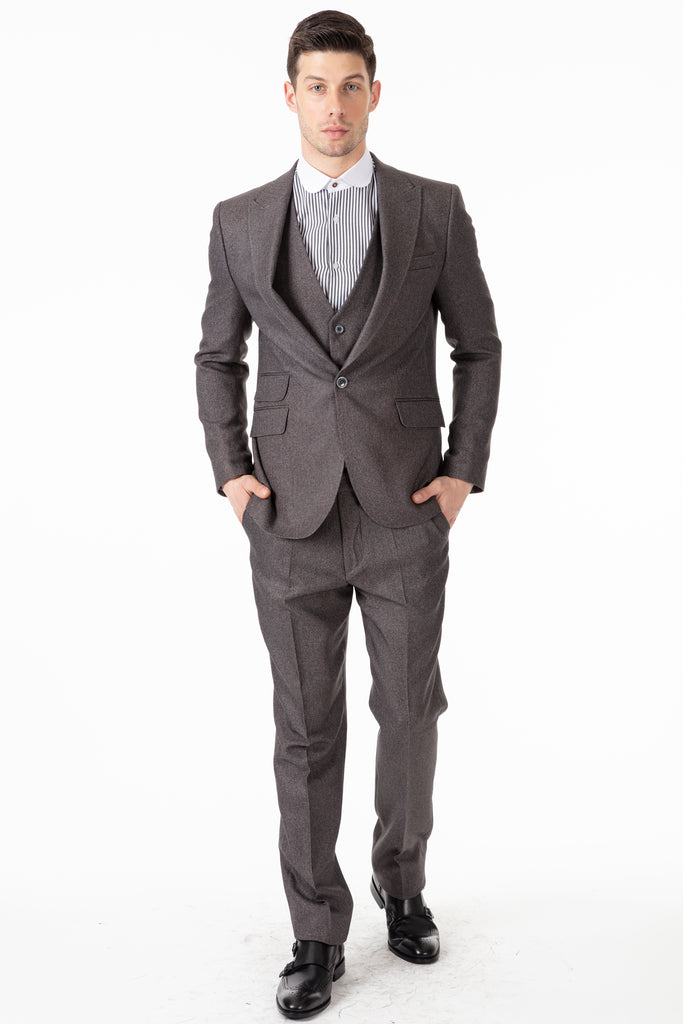 TOMMY - Grey Herringbone Tweed Trousers - Jack Martin Menswear