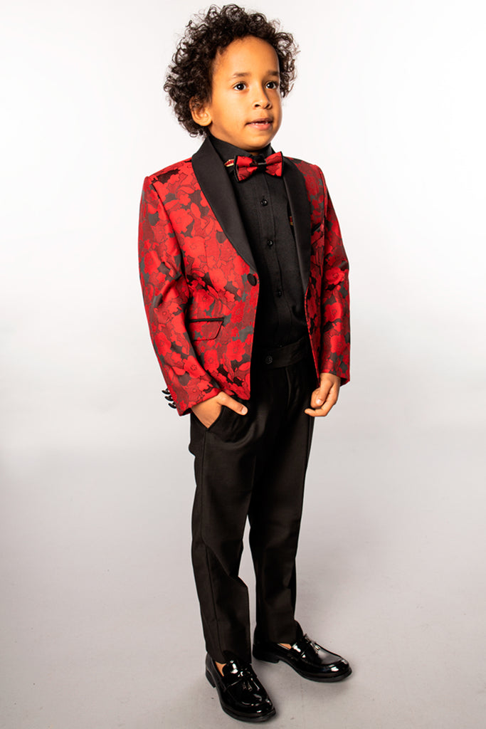 DJ4 - Red Floral Boy's Tuxedo with Bow Tie - Jack Martin Menswear