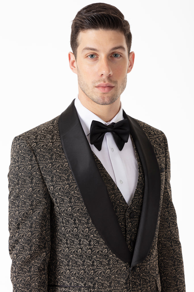 LEO - Black & Gold Floral Jacquard Dinner / Tuxedo Suit - Jack Martin Menswear