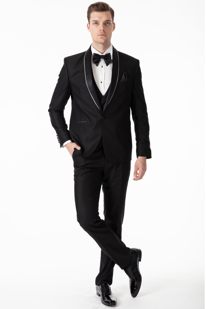 NEW YORK - Black Slim Fit 3 Piece Suit with Handmade Glittering Silver Lapel - Jack Martin Menswear
