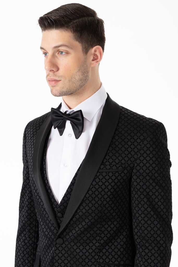Black Diamond Printed Velvet 3 Piece Suit / Tuxedo - Jack Martin Menswear