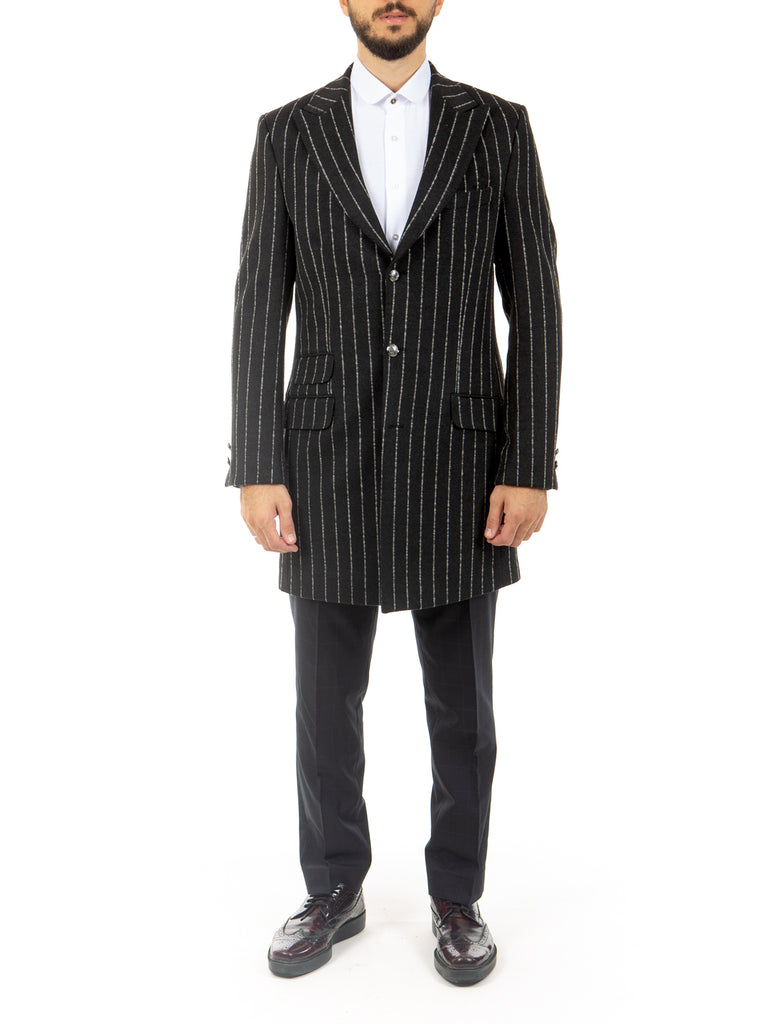 Black Chalk Stripe Wool Overcoat with Peak Lapel - Jack Martin Menswear