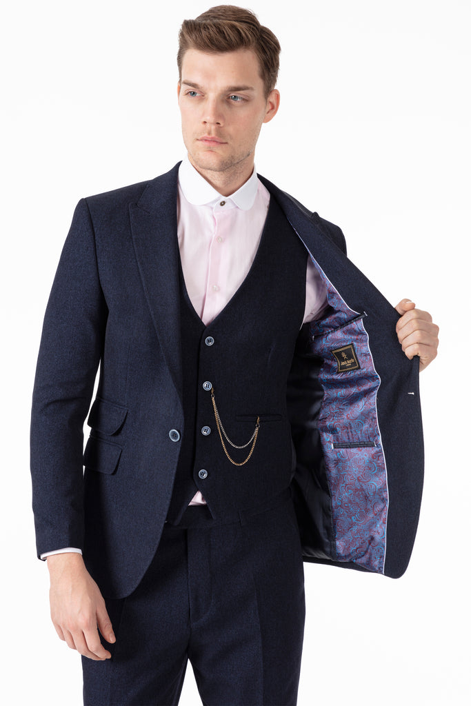 TOMMY - Peaky Blinders Style - Navy Tweed 3 Piece Suit - Jack Martin Menswear