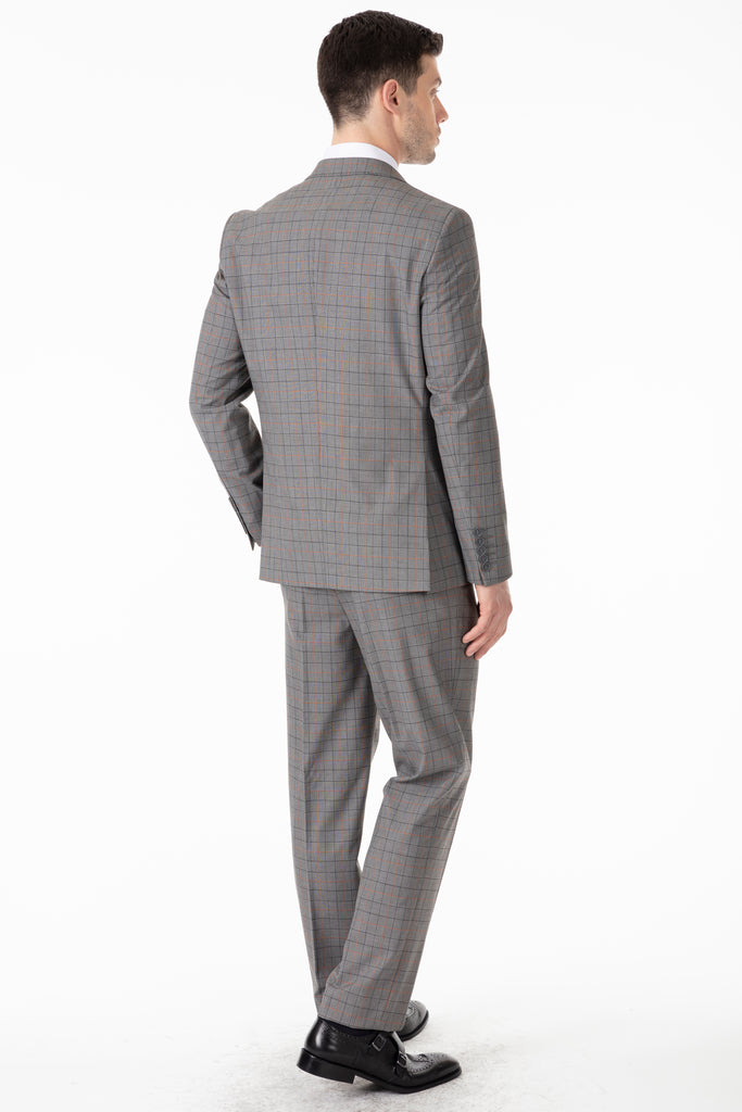 Grey & Black Prince of Wales Check Double Breasted Suit - Jack Martin Menswear