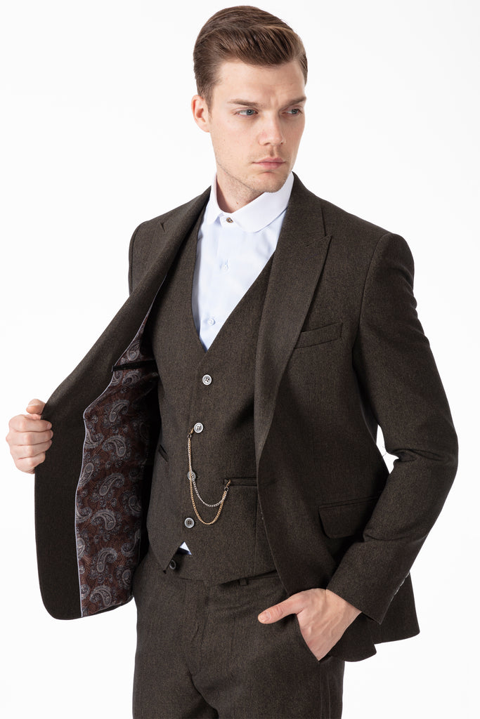 TOMMY - Peaky Blinders Style - Green Tweed 3 Piece Suit - Jack Martin Menswear