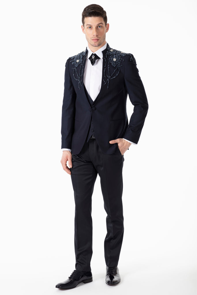 MESSINA - Handmade Navy Blue Floral Diamante - Slim Fit 3 Piece Suit - Jack Martin Menswear