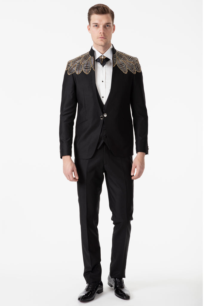 MESSINA - Black Slim Fit 3 Piece Suit with Handmade Yellow Wings Diamante - Jack Martin Menswear
