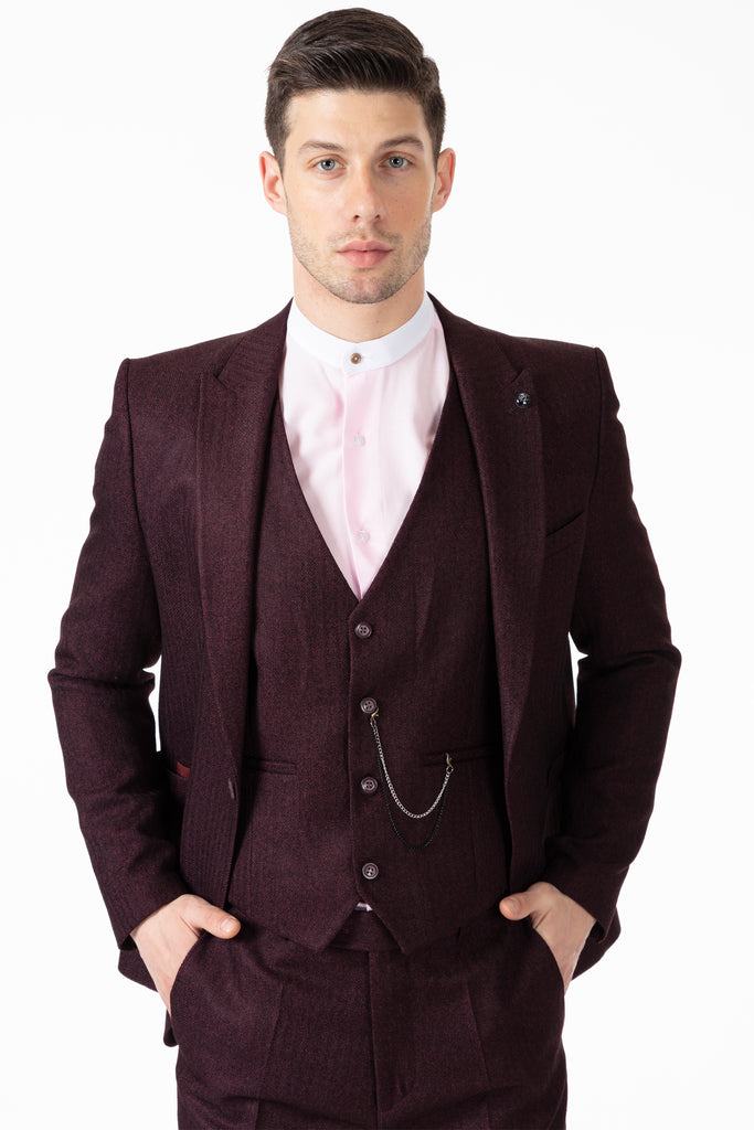 JOHN - Burgundy Tweed Herringbone 3 Piece Suit with Patch Pockets - Jack Martin Menswear