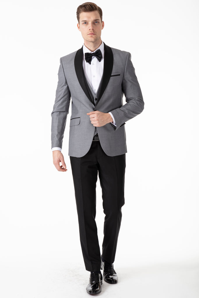 Grey Dinner / Tuxedo Jacket with Black Shawl Collar - Jack Martin Menswear