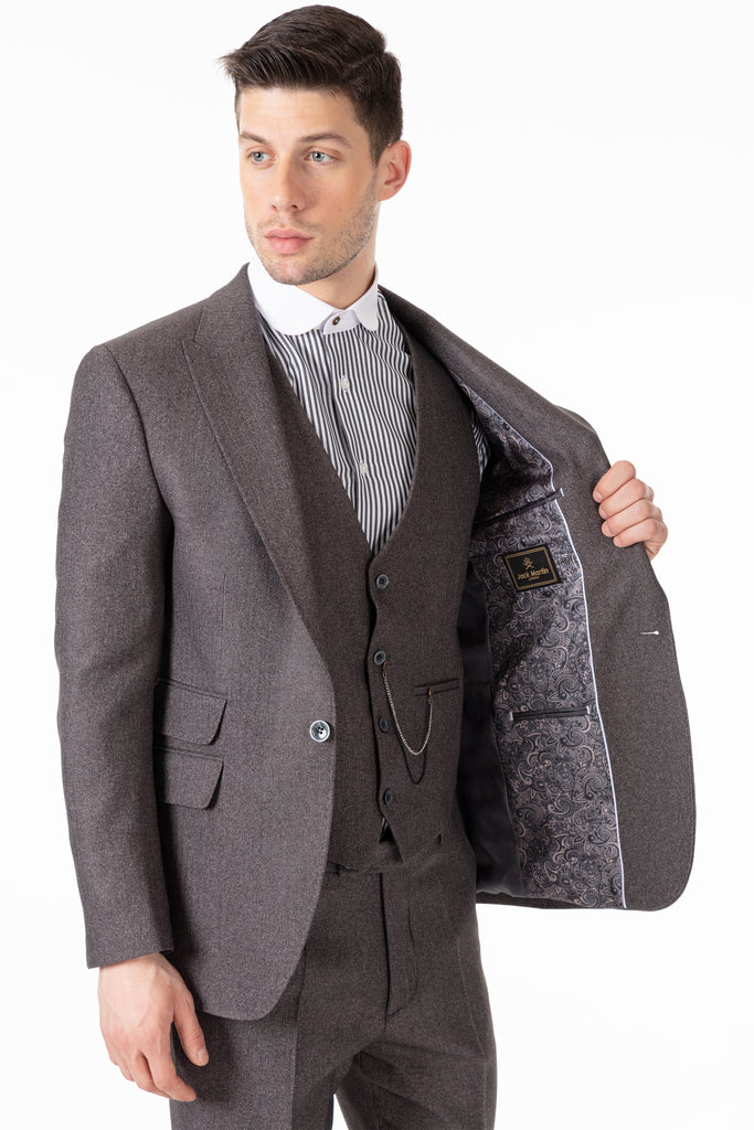 TOMMY - Peaky Blinders Style - Grey Herringbone Tweed 3 Piece Suit - Jack Martin Menswear
