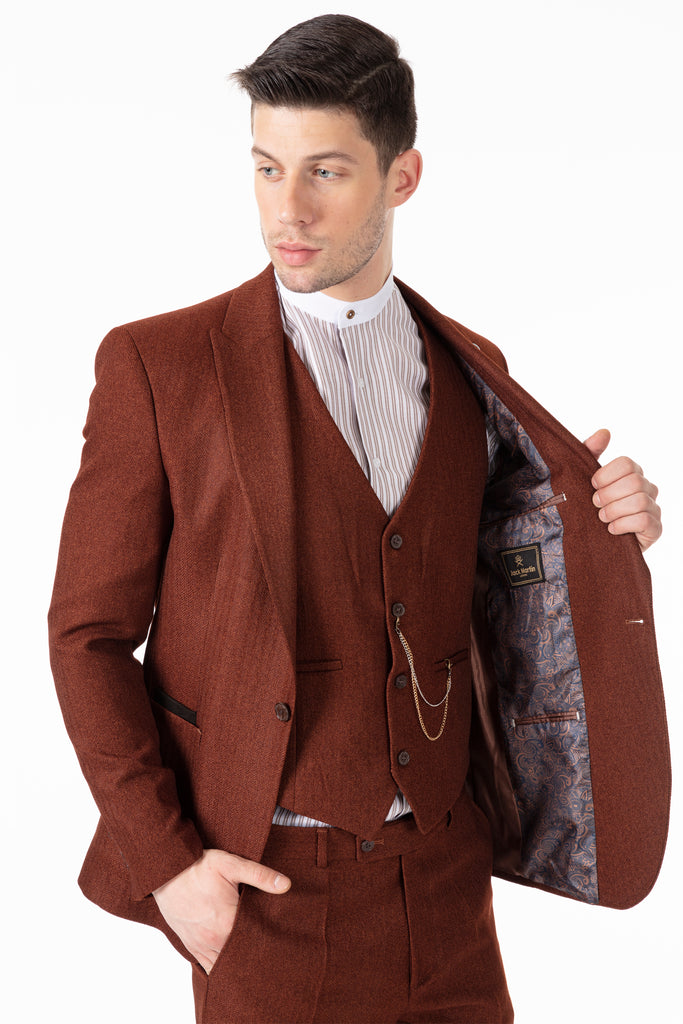JOHN - Tobacco Brown Tweed Herringbone Blazer with Patch Pockets - Jack Martin Menswear
