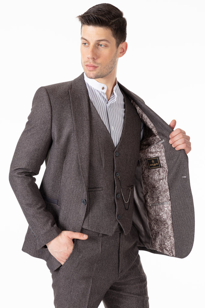 JOHN - Grey Tweed Herringbone 3 Piece Suit with Patch Pockets - Jack Martin Menswear