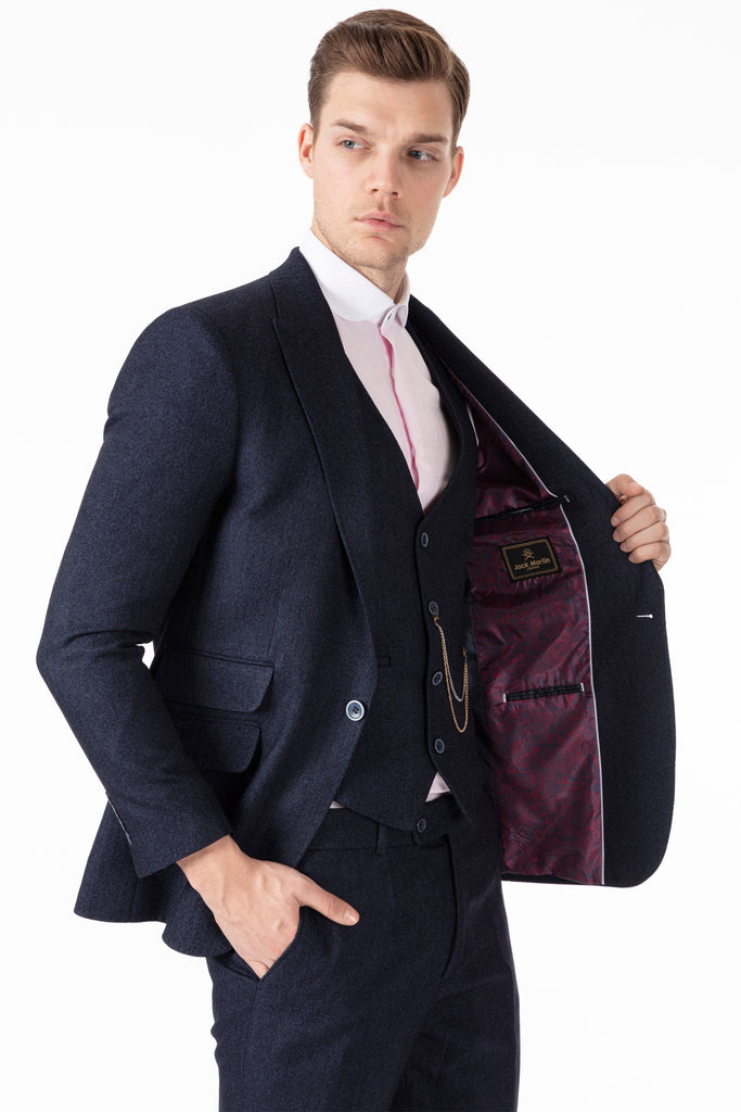 TOMMY - Peaky Blinders Style - Navy Herringbone Tweed 3 Piece Suit - Jack Martin Menswear