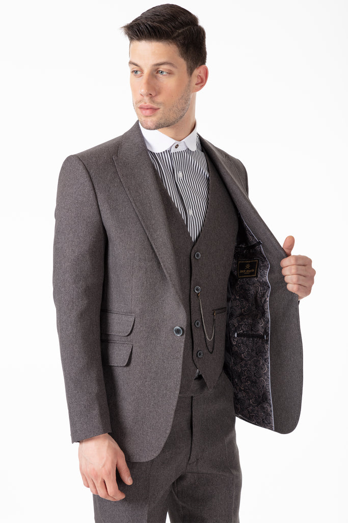 TOMMY - Peaky Blinders Style - Grey Tweed 3 Piece Suit - Jack Martin Menswear