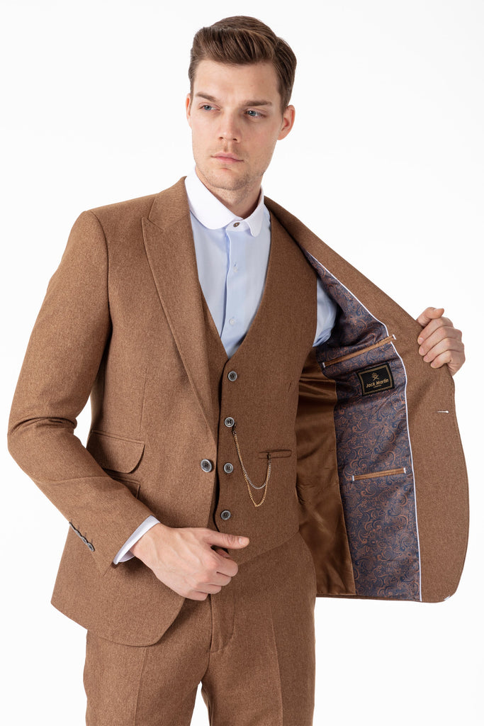 Get the Look 002 - Tommy Tan Tweed Suit & Green Waistcoat - Jack Martin Menswear