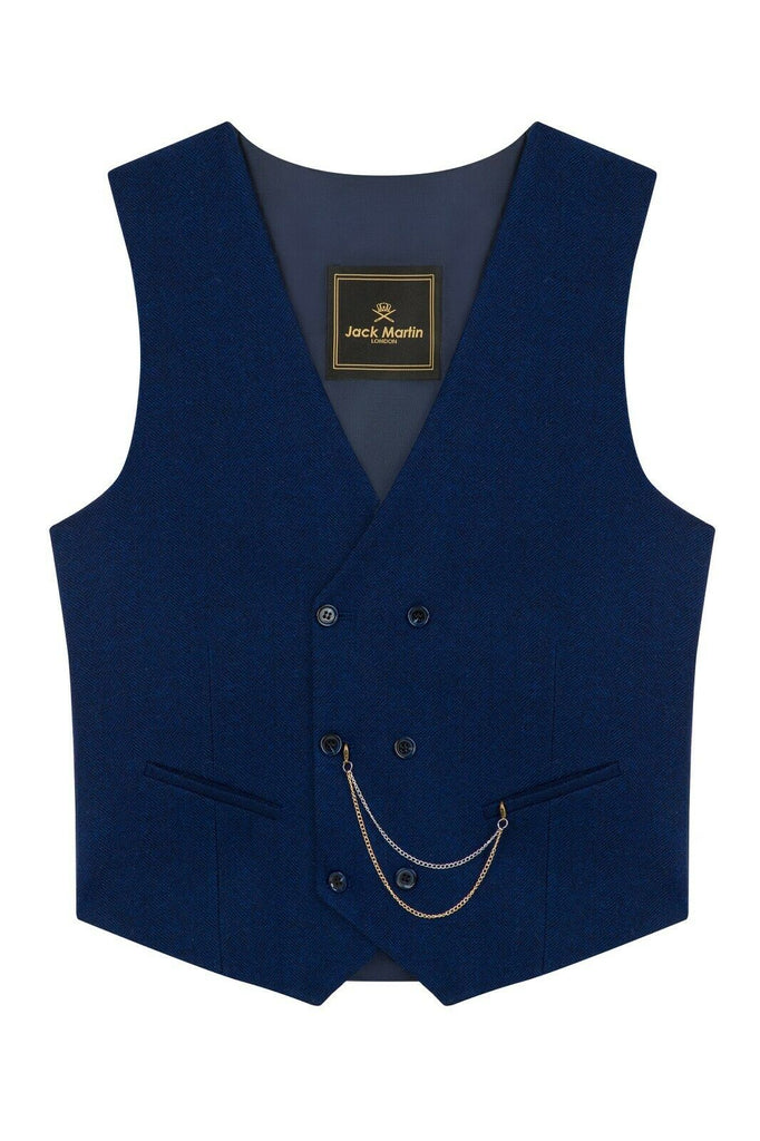 Blue Herringbone Tweed Double Breasted Waistcoat - Jack Martin Menswear